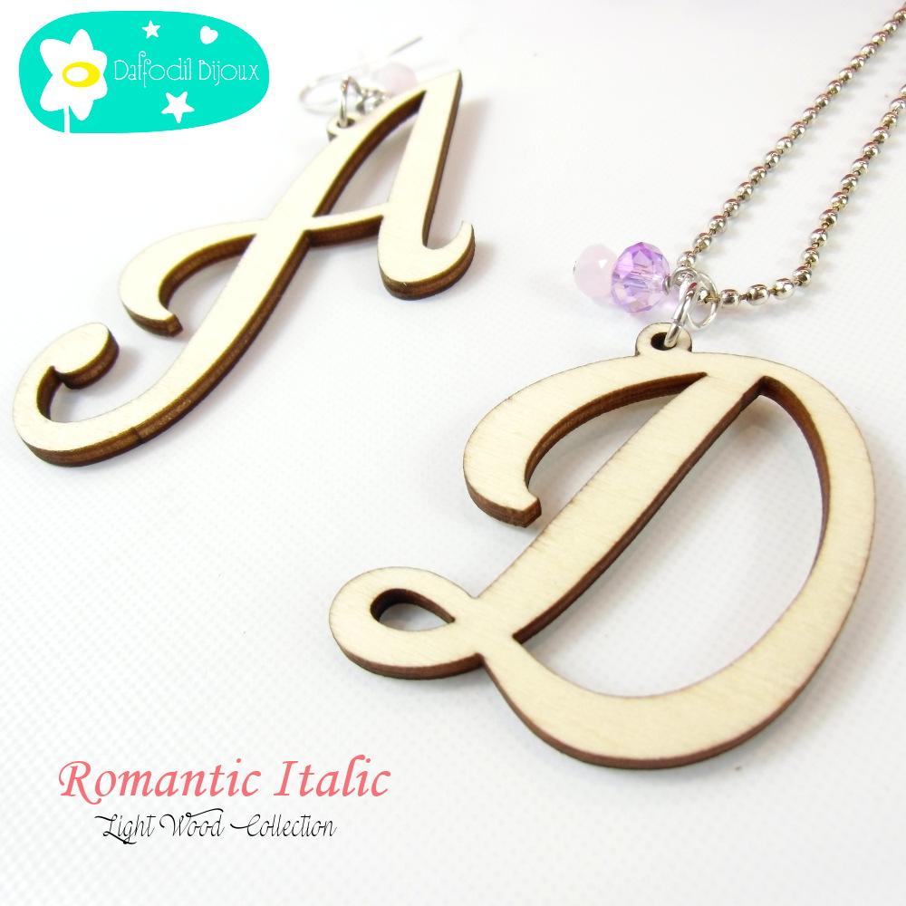 Collana neomamma con Iniziale del Bimbo Romantic Italic