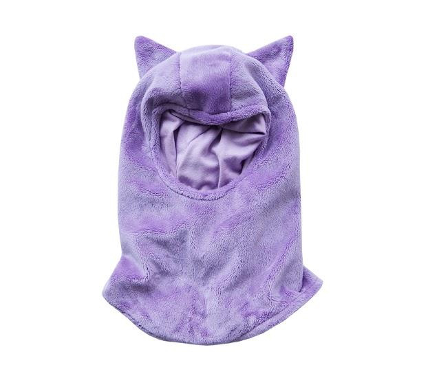 Passamontagna Viola con orecchie da animaletto - berrettino e sciarpa in uno.