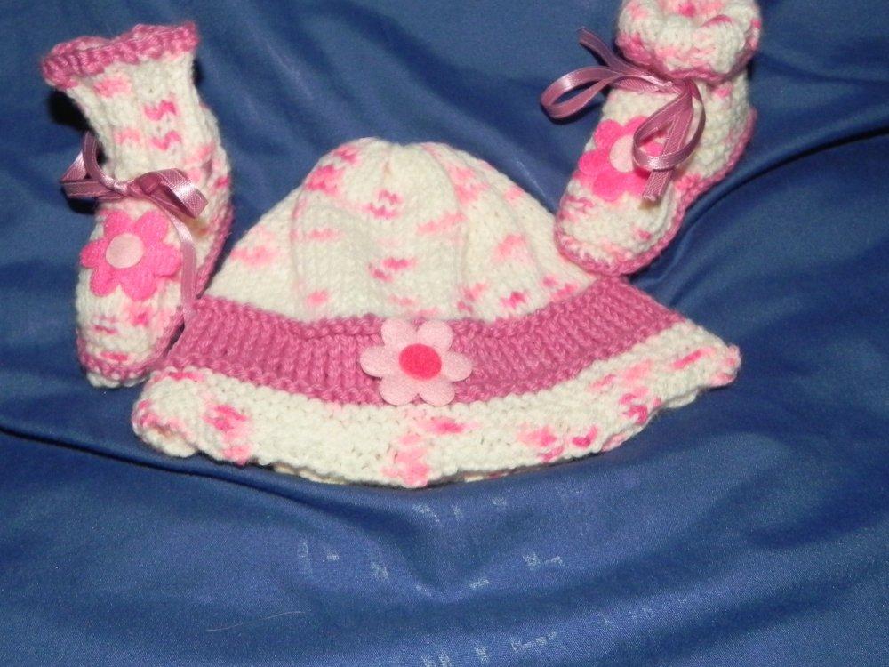 Cappellino e scarpette da 1 a 4 mesi circa