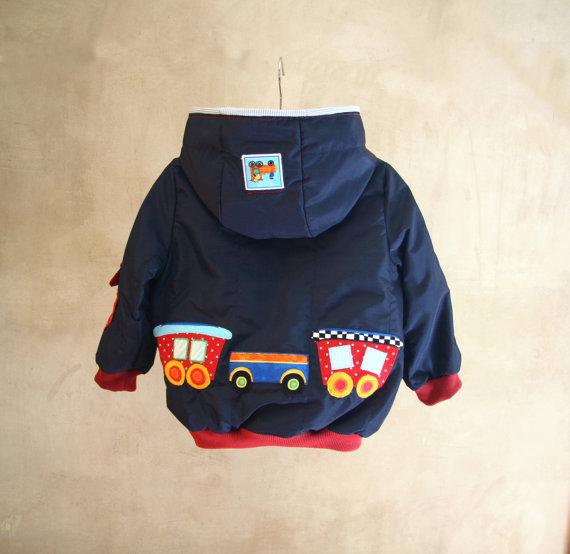 Giacca a vento con applicazioni realizzate a mano, giacca invernale con trenino