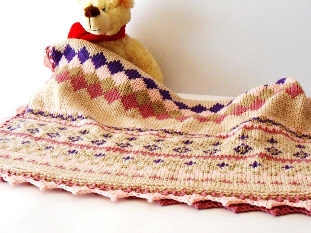 Prestigiosa copertina baby, lavorata a mano Fair Isle, in pura lana Merino
