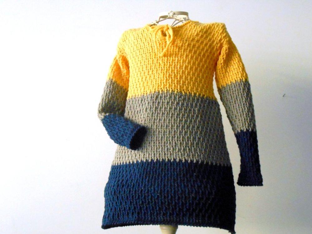 Abitino per bimba uncinetto, in lana Merino