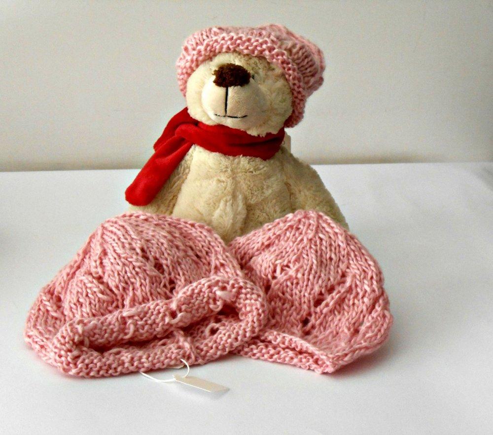 Berretto per bimba, rosa, lavorato a maglia, in filato bambù