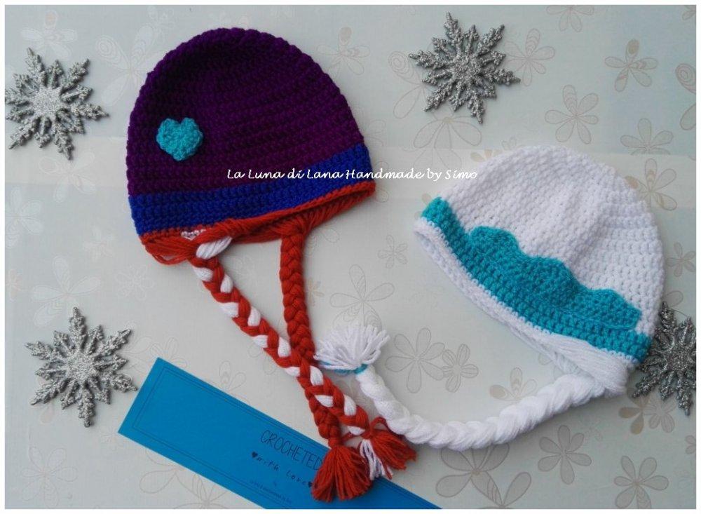 Cappellino Ad Uncinetto Da Bambina Elsa E Anna Frozen