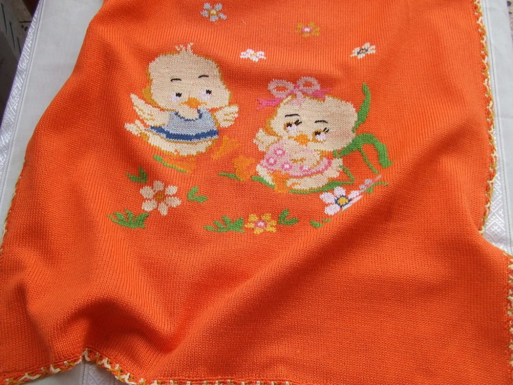 coperta culla cotone maglia ricamata