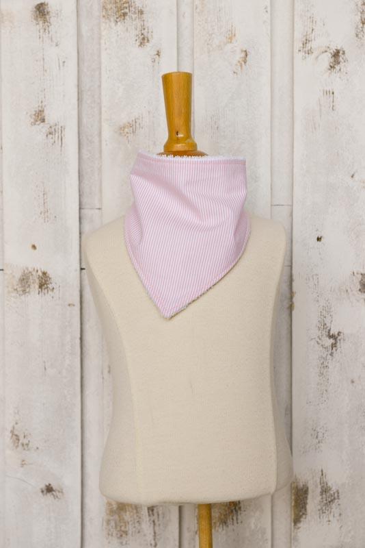 Bavaglino bandana righe rosa