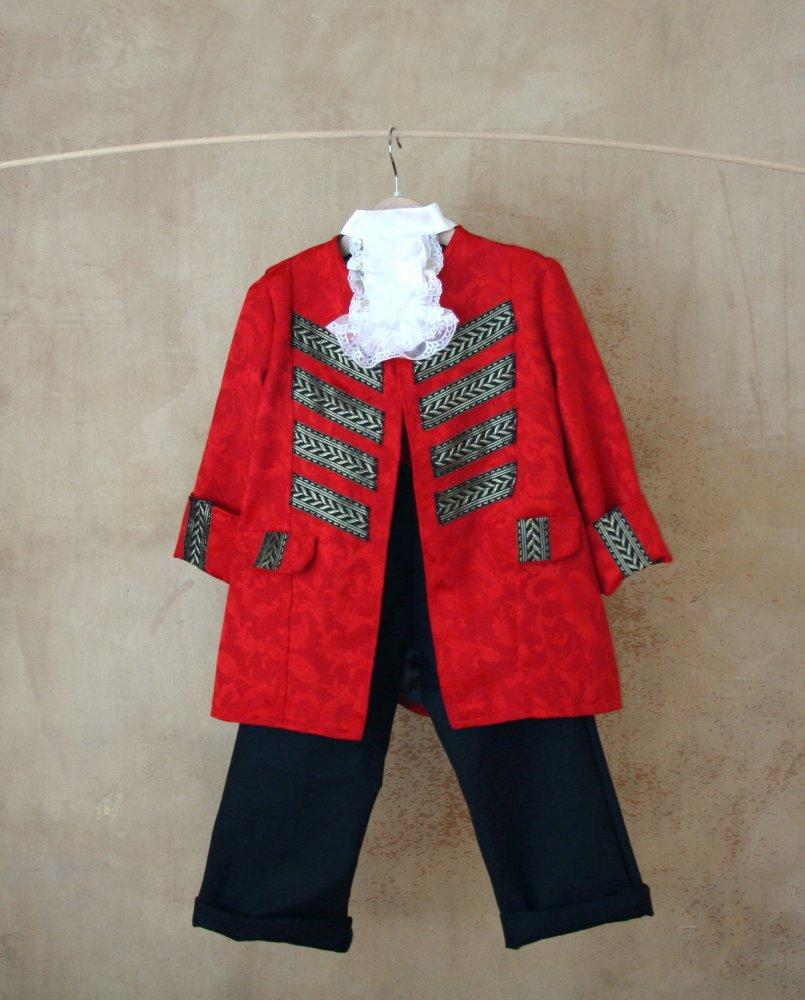Costume da Pirata per bambini in sontuoso damasco rosso, decorazioni dorate e pantaloni in tela di cotone,tg. 1-6 anni