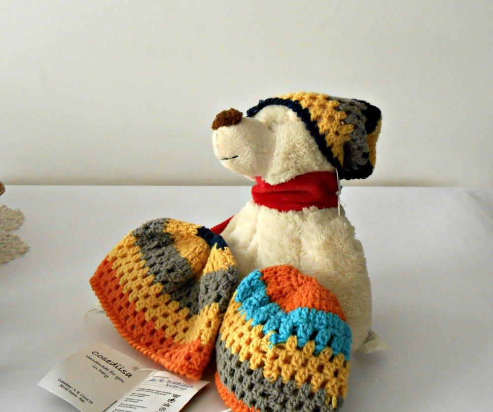 cuffia baby a uncinetto, cappellino colorato stile rasta per bimbi