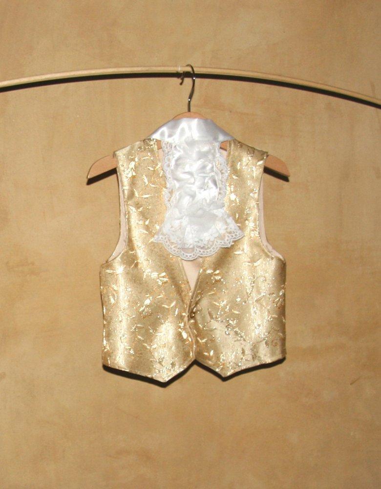 Gilet in sontuoso damasco dorato per bambini, costume, carnevale, nobile veneziano, pirata, capitan Uncino, principe