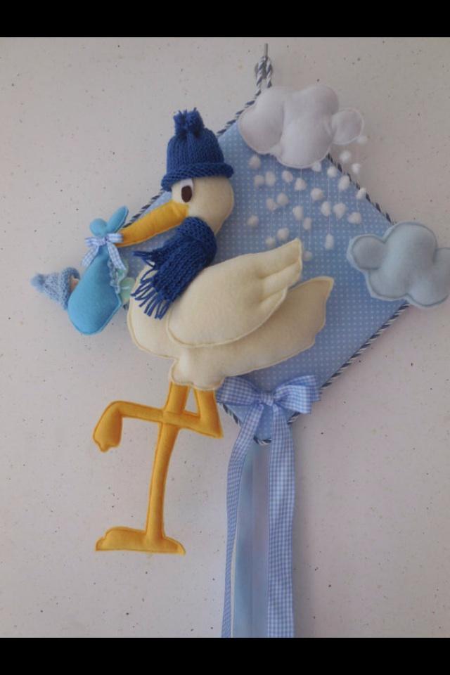Fiocco nascita azzurro cicogna