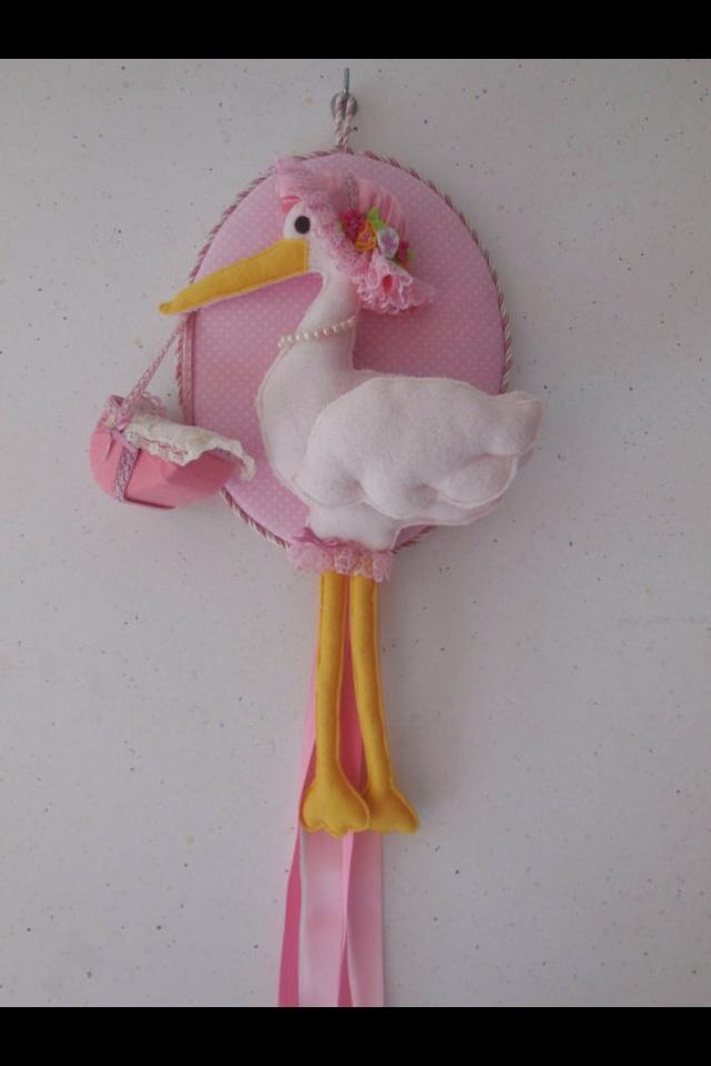 Fiocco rosa con cicogna