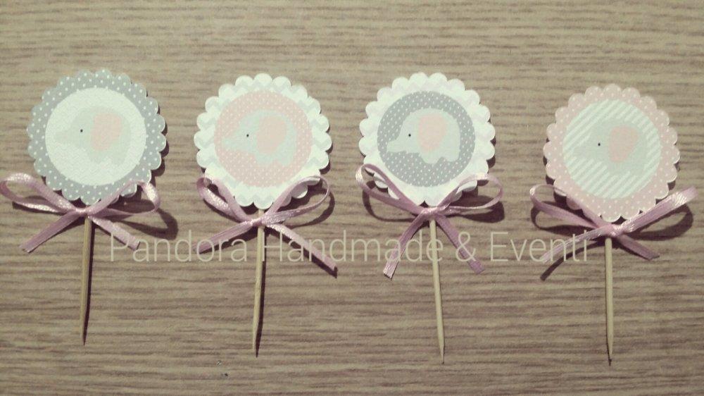 Cupcakes topper Elefantino - 24 pezzi