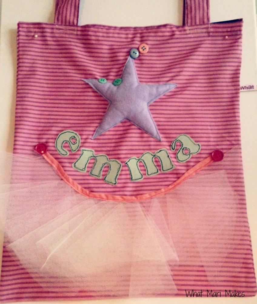 Shopper con il nome personalizzabile per bambine danzanti