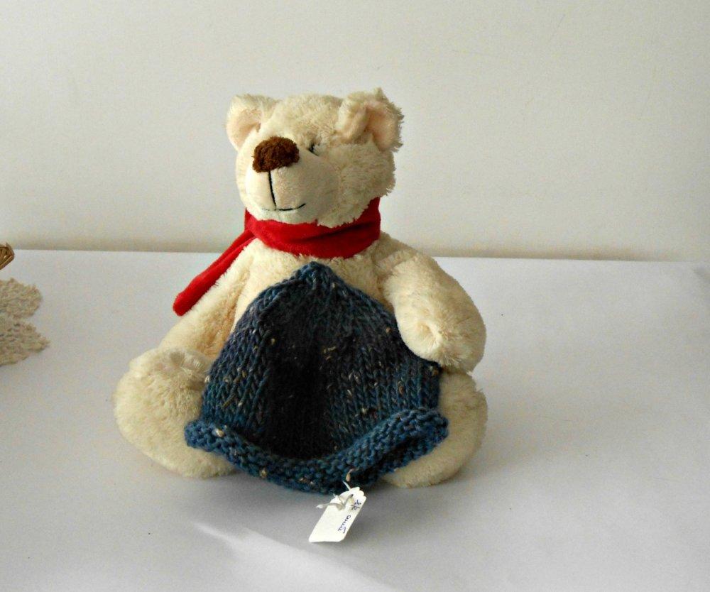 cuffia per bimbo lavorata a maglia, cappellino baby blu melange, cloche da bambino