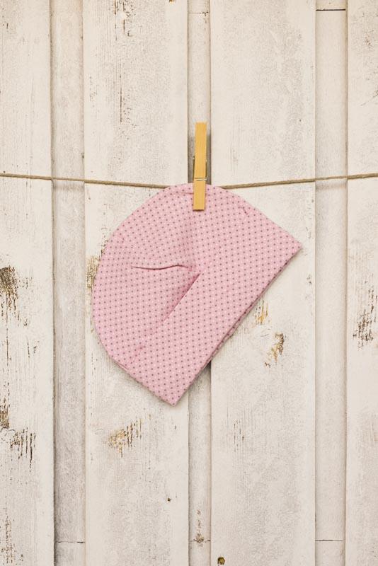 Berrettino in jersey rosa a pois