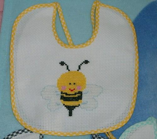 Bavaglino con ape allegra e sorridente