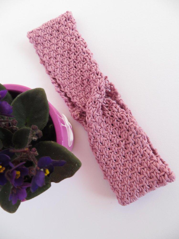 Fascia capelli rosa tulipano in filo di scozia