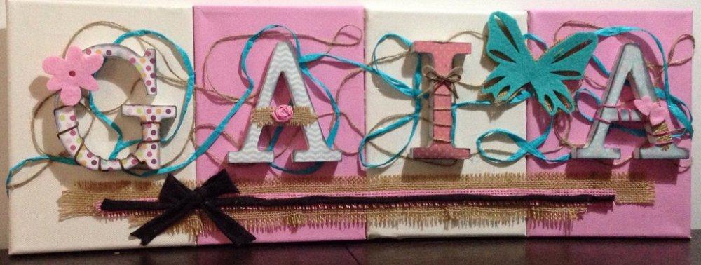Nome con lettere di legno su tela