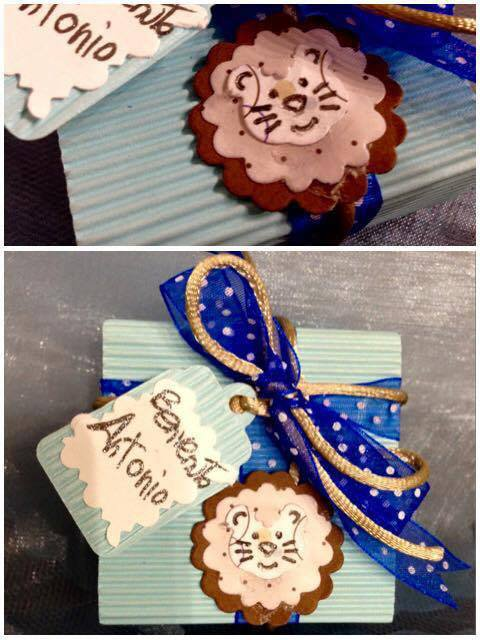 Bomboniera nascita /battesimo/ compleanno con leone e tag personalizzato