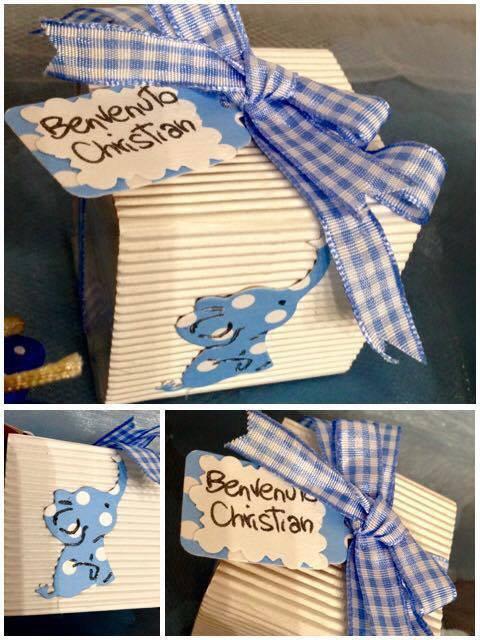 Bomboniera nascita /battesimo/ compleanno con elefante e tag personalizzato