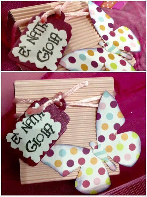 Bomboniera nascita /battesimo/ compleanno con farfalla e tag personalizzato