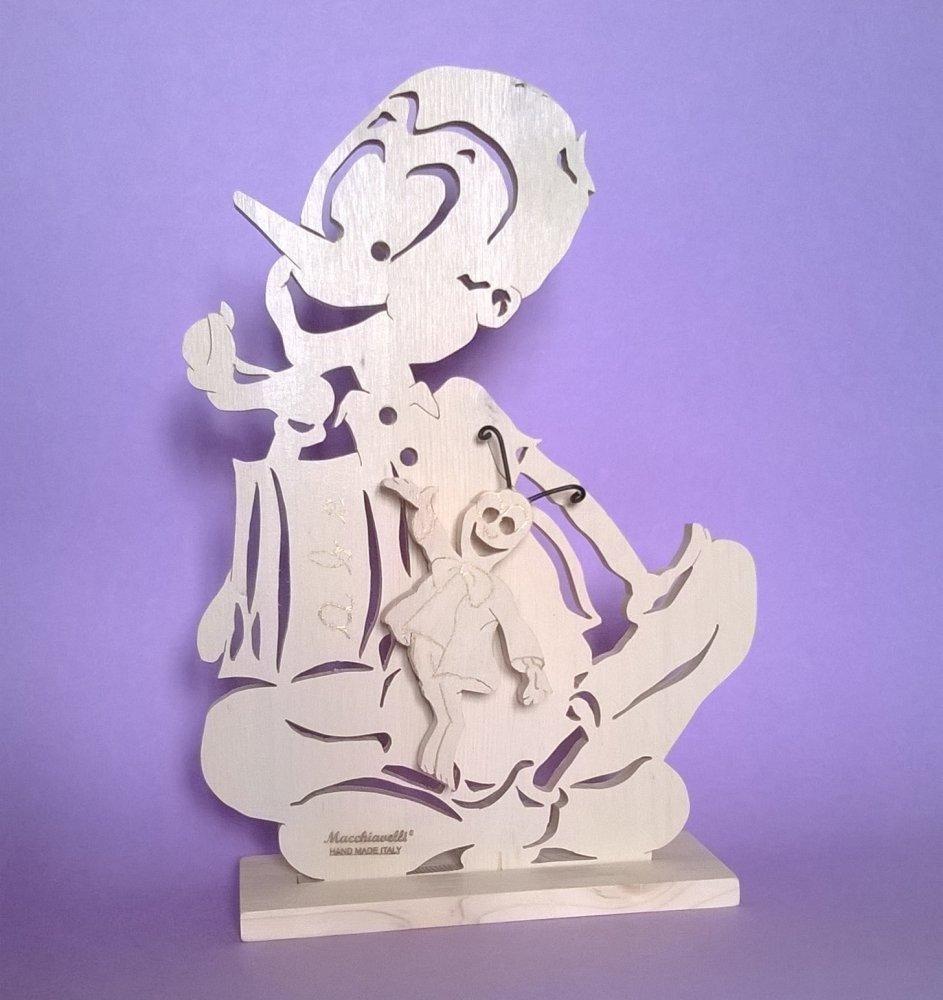 Carillon musicale di Pinocchio in legno massello di abete (Cod. CAR001)
