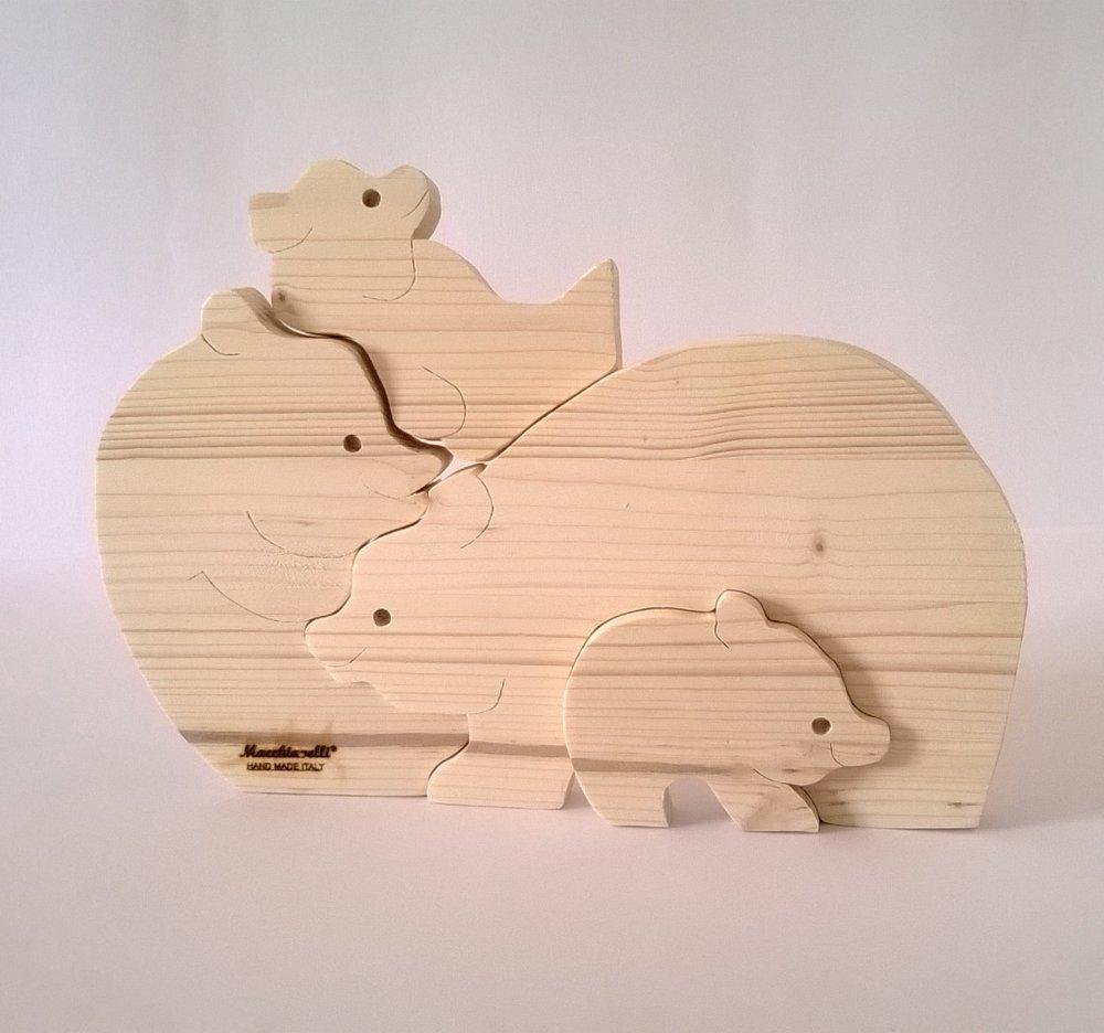 Puzzle in legno puzzle orsi (Cod. PUZ002)