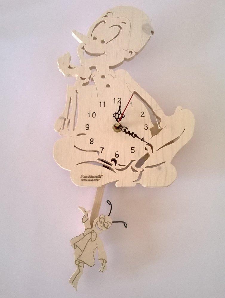 Orologio a pendolo di Pinocchio in legno massello di abete (Cod. ORP001)