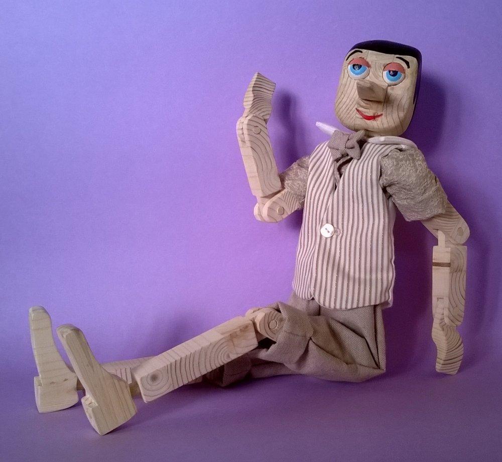 Pinocchio di legno originale 100% MADE IN ITALY burattino vintage in legno di pino esclusiva Macchiavelli Arte Legno (Cod. BUR002)