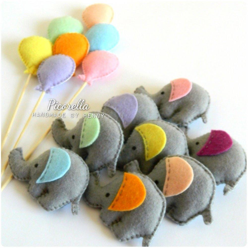 1 set (5 pz) Bomboniere Elefanti Colorati,  Compleanno, Nascita