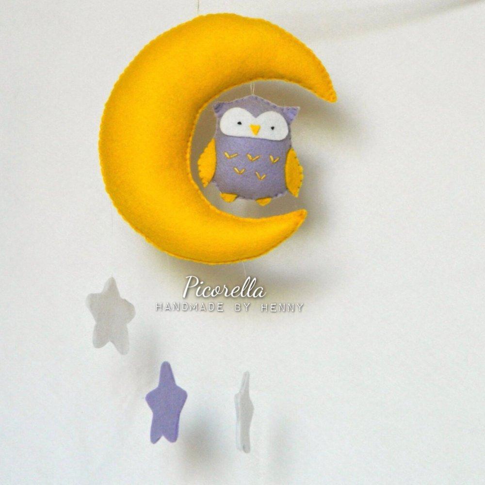 Banner Nascita, Giostrino di culla, La luna con Gufetto, Coccarda Nascita