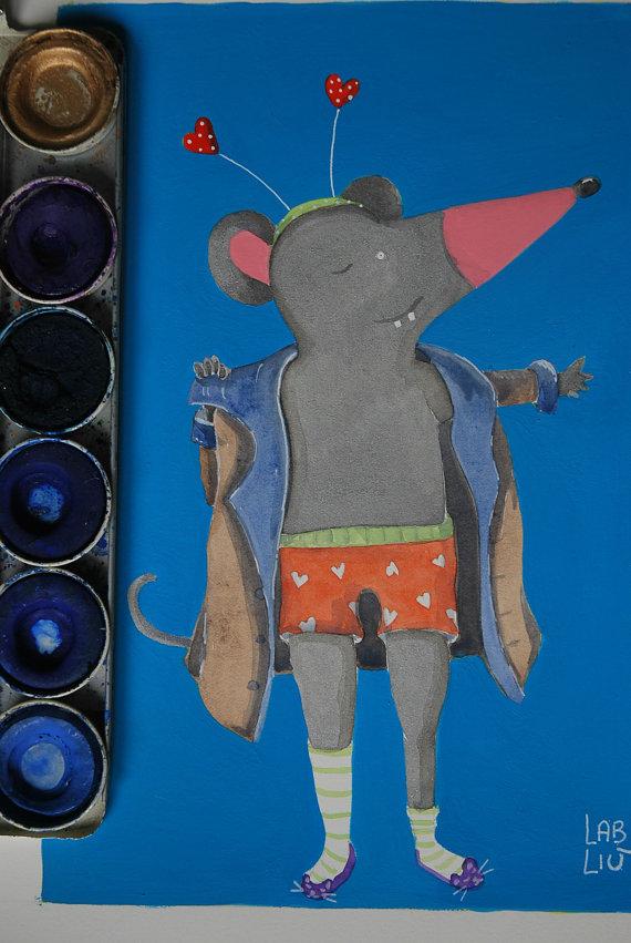 Illustrazione ad acquerello con topolino