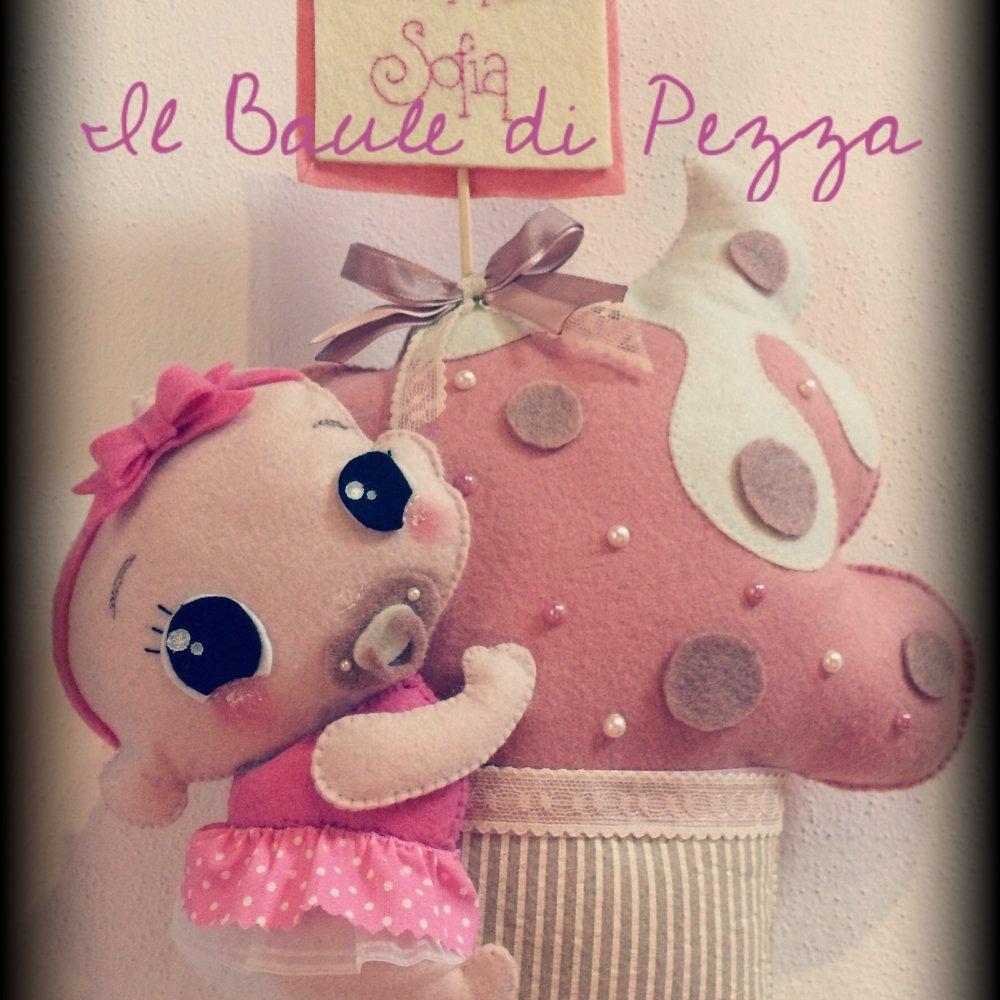 Fiocco nascita cupcake