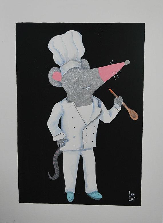 Illustrazione ad acquerello topolino cuoco