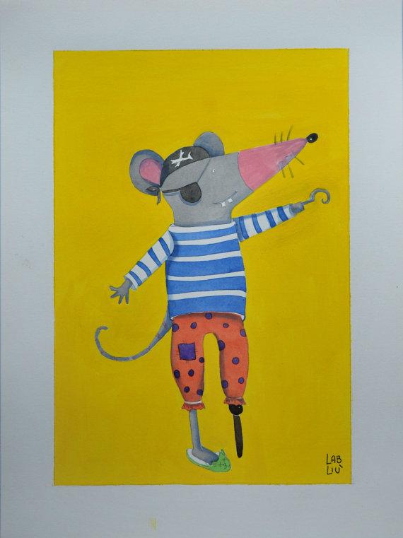 Illustrazione originale acquerello topolino pirata
