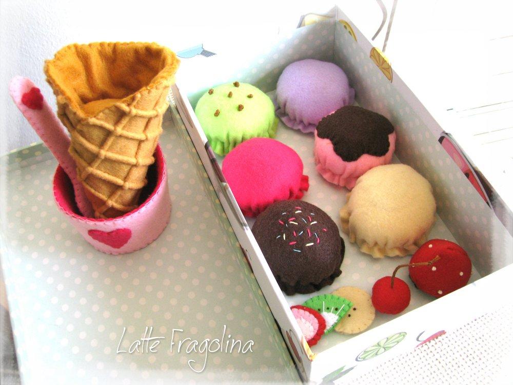 Giocattolo Set gelato in pannolenci (piccolo) - Alimenti e cibo in pannolenci per bambini