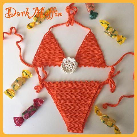 Costume Bikini Mare Uncinetto Fiore Cotone100% Bimba