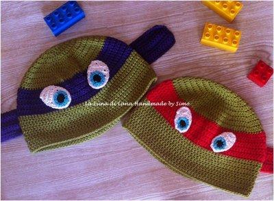 Cappellino uncinetto per Bambino ispirato alle Tartarughe Ninja