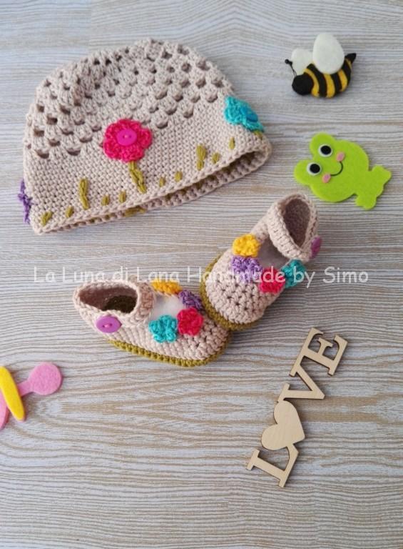 Cappellino e scarpine neonata uncinetto in cotone