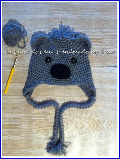 Cappellino per bambino o bambina  in lana, a forma di koala, fatto a uncinetto