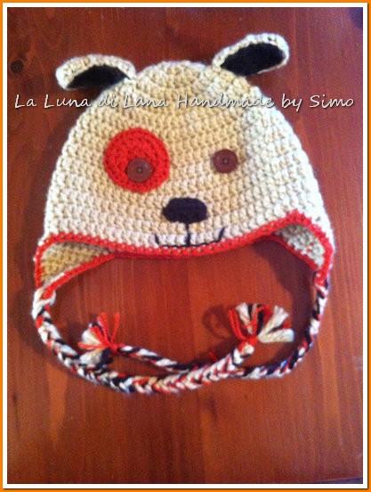 Cappello per bimbo a uncinetto, a forma di cagnolino