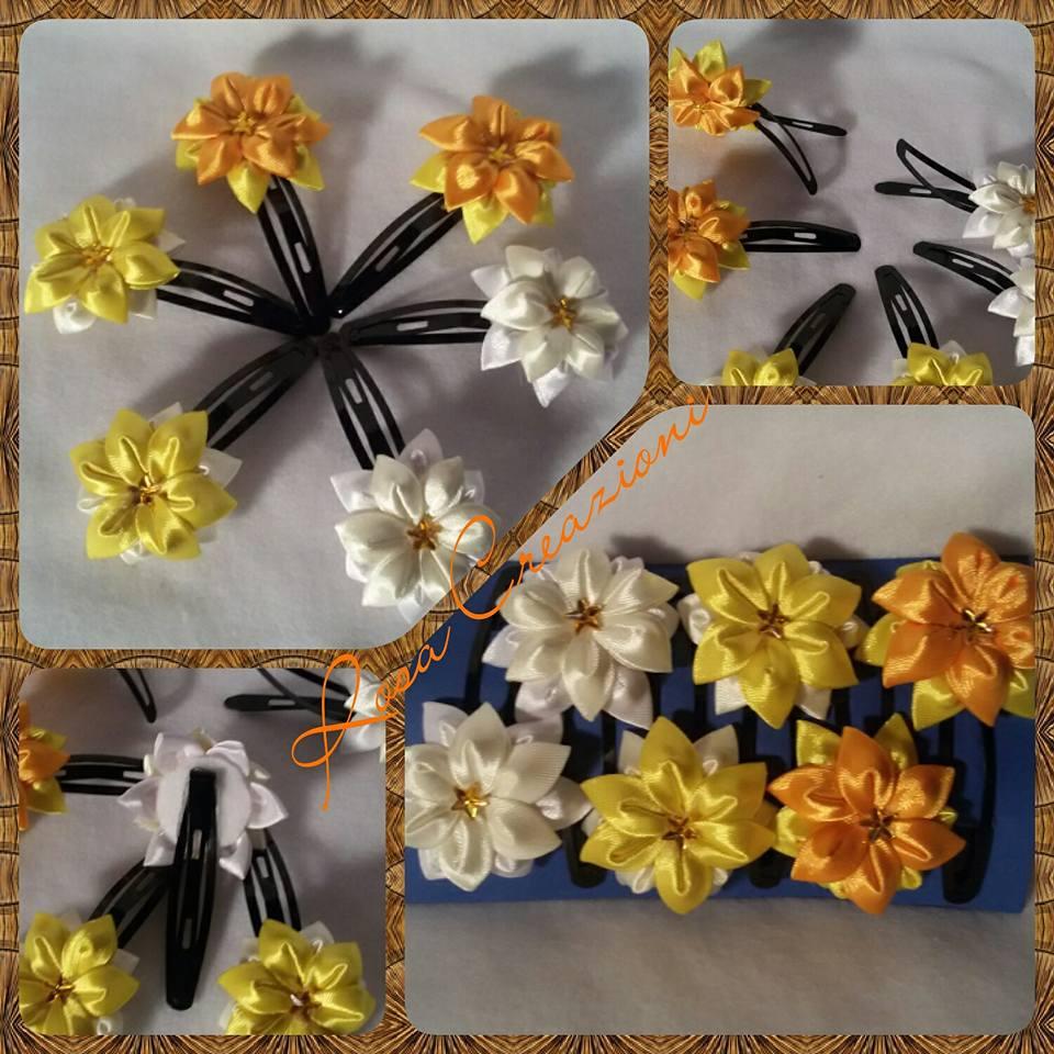 Mollette di fiori di stoffa in tecnica Kanzashi