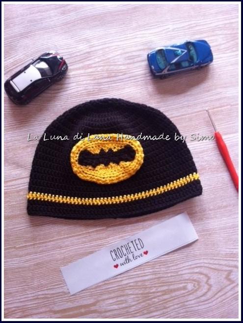 Cappello a uncinetto ispirato a Batman per bambino o teen ager