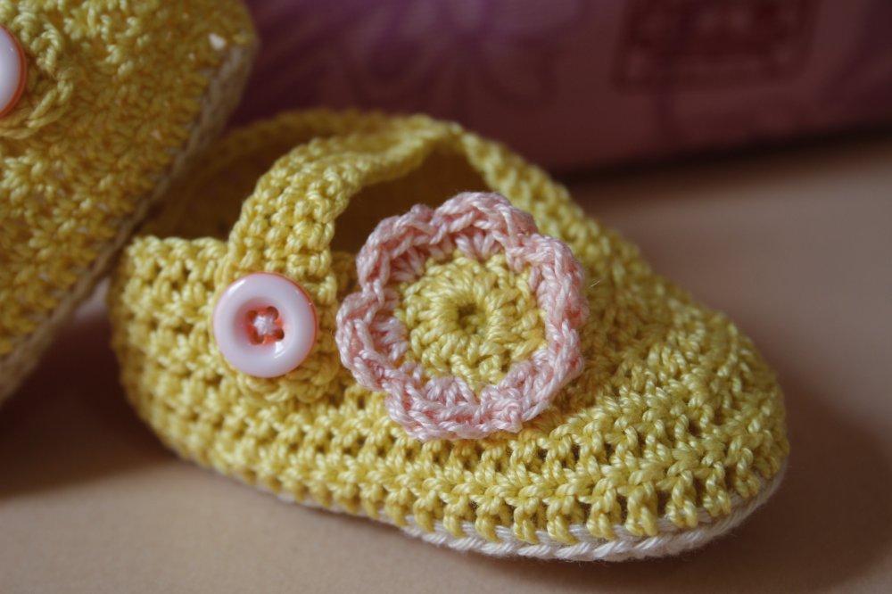 scarpine ballerine neonato cotone giallo e fiore rosa