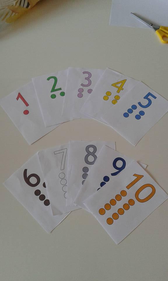 10 schede montessoriane. numeri 1-10