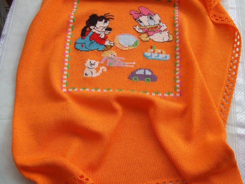 coperta culla cotone maglia ricamata a mano
