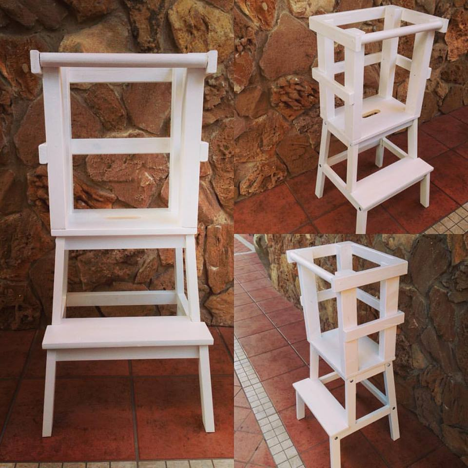 Learning Tower - Torre di apprendimento montessoriana bianca