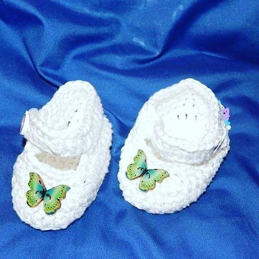 Scarpette realizzate ad uncinetto in cotone  NEONATO