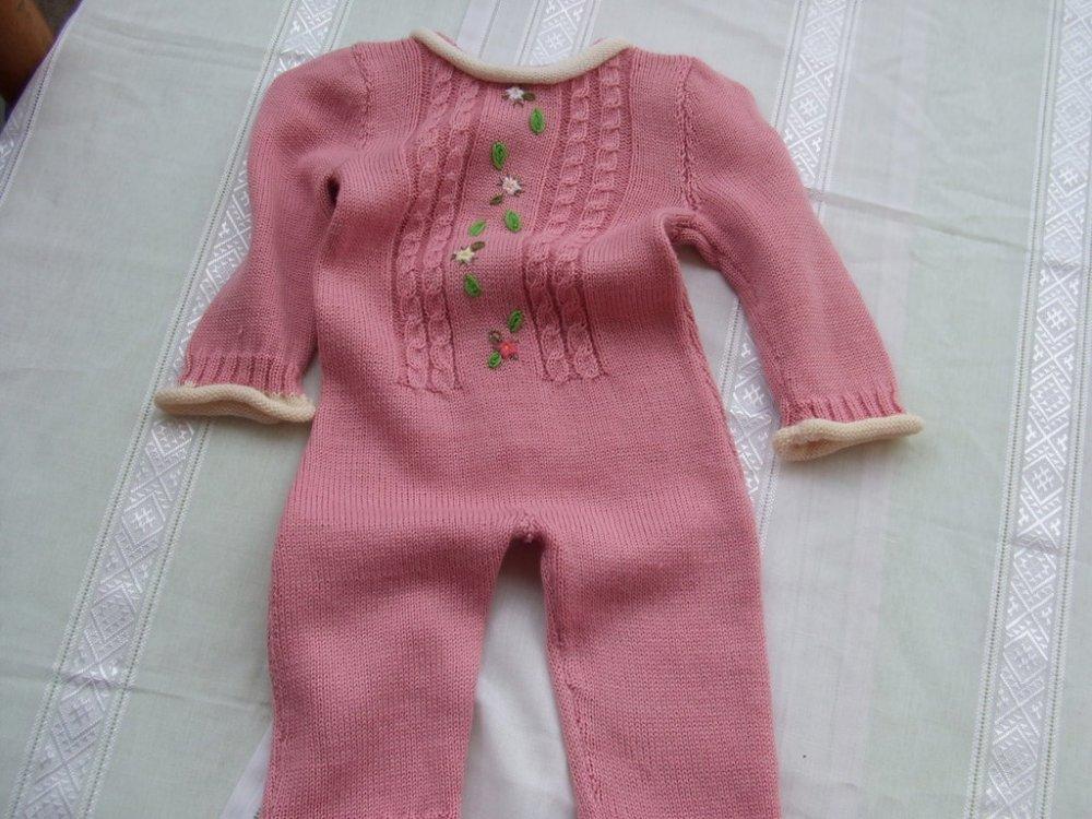 tutina bimba lana maglia ricamata