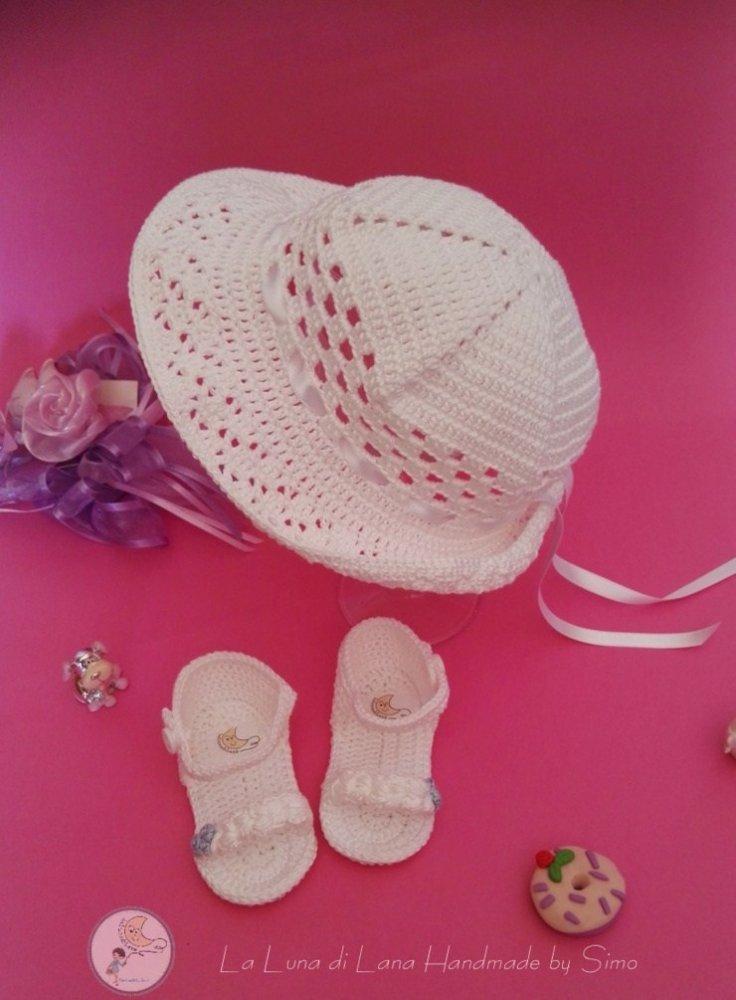 Cappello Per Battesimo A Uncinetto E Sandalini Per Bimba Coordinati